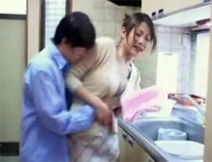 Immodest Boy Grabbed Japanese Mom In The Kitchen